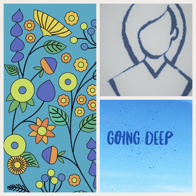 "3 part image with flowers, outline drawing of a woman and a block that says ""going deep"""