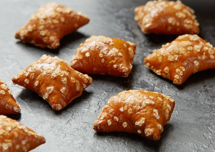 image of several small, square-shaped pretzels