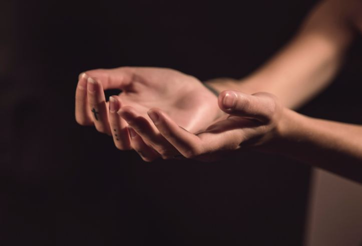 photo of a woman's two hands, palms up