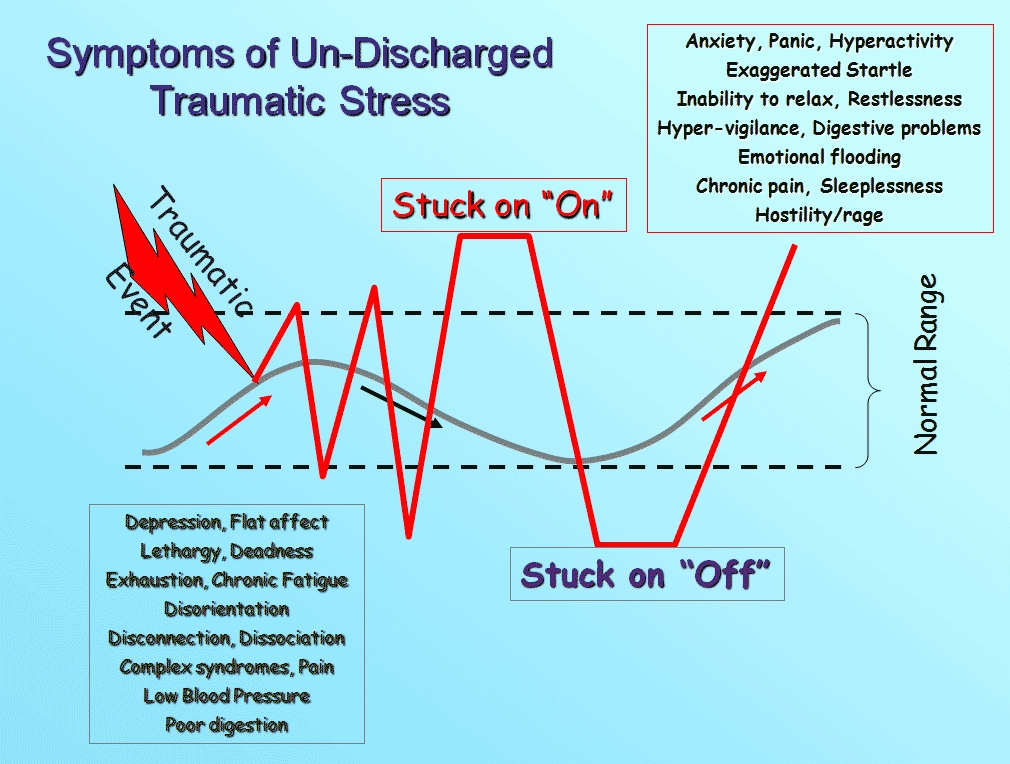 graphic entitled Symptoms of Un-Discharged Traumatic Stress, showing the window of tolerance (normal range) and what it is to be hyper and hypo aroused